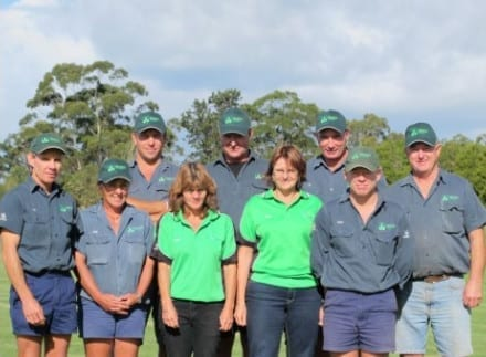 Daleys Turf, Back row from left: Peter Godsall, Andrew McMorrine, Len Albiez, Phil Hodges Front from left: Joe Daley, Rose Daley, Carmel Schenk, Angie Albiez, Terry Daley